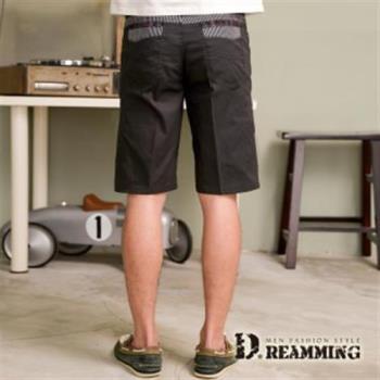 【Dreamming】剪接條紋伸縮休閒短褲(灰色)