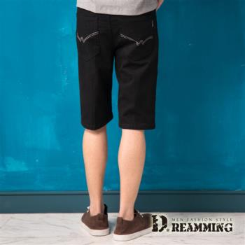 【Dreamming】親膚百搭皮標繡線伸縮休閒短褲(黑色)-行動