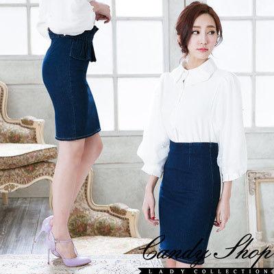 CANDY小舖 可拆荷葉牛仔高腰包臀窄版短裙