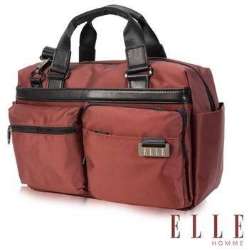 【ELLE HOMME】時尚搭配皮革大空間多層置物防潑水尼龍側背手提兩用旅行款(酒紅EL82302A-80)