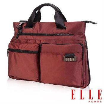 【ELLE HOMME】時尚公事包搭配皮革IPAD/13吋筆電置物層側背手提款(酒紅EL82303A-80)