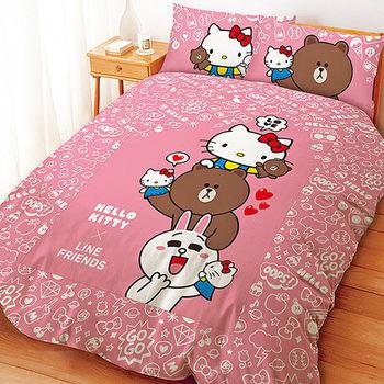 【享夢城堡】雙人床包薄被套組-HELLO KITTYxLINE 手偶同樂會系列