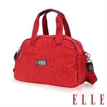 【ELLE】優雅淑女皺褶包大空間 托特肩背/手提包款防潑水設計款(紅 EL82343-01)