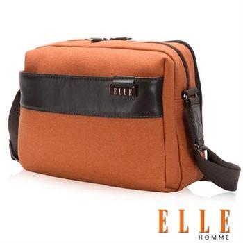 【ELLE HOMME】橫式立體IPAD置物扣層 側背包 精湛頂級頭層皮時髦設計款(駝色 EL83422-75)