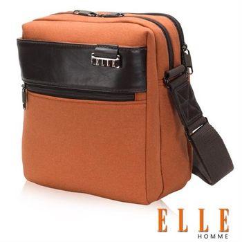 【ELLE HOMME】時尚直立式立體I PAD置物扣層側背包精湛頂級頭層皮(駝色 EL83421-75)