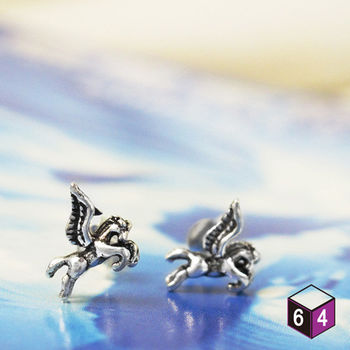 ART64 耳環 飛馬 Pegasus 925純銀馬造形耳環 動物耳環