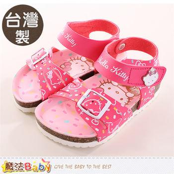 魔法Baby 女童鞋 台灣製Hello kitty正版涼鞋~sh9843