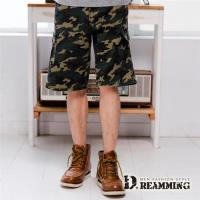 【Dreamming】韓系街頭迷彩多口袋伸縮休閒短褲(綠色)-行動