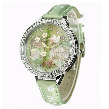 【韓國MINI】手工軟陶晶鑽創意手錶-3D神秘花園