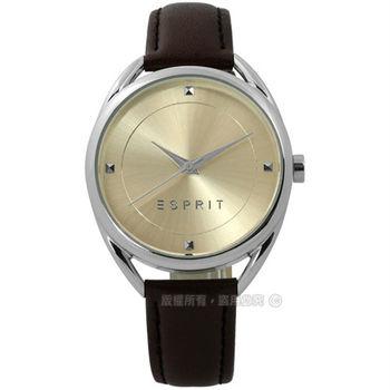 ESPRIT / ES906552003 / 簡約百搭超凡品味真皮女錶 米黃x深咖啡 36mm