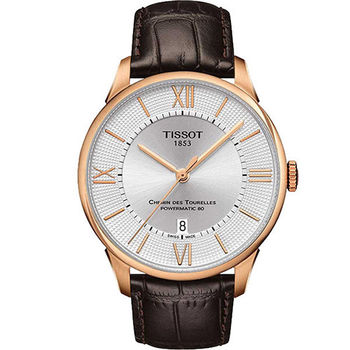 TISSOT 杜魯爾系列商務奢華玫瑰金機械動力腕錶-銀x玫瑰金框/42mm-T0994073603800