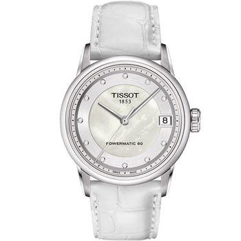 TISSOT LUXURY Lady 白珍珠貝晶鑽 女用機械腕錶-33mm/ T0862071611600