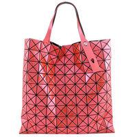 【ISSEY MIYAKE 三宅一生】BAOBAO鏡面方格10x10手提包(橘紅)