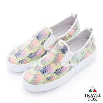Travel Fox(女) 泡泡紋春漾直套厚底懶人休閒鞋 - 綠黃
