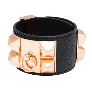 HERMES collier de chien金屬鉚釘荔枝紋小牛皮寬版手環(S-黑X玫瑰金-T年)