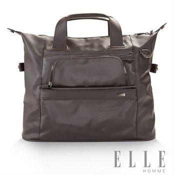 【ELLE HOMME】紳士質感大容量PVC細菱紋防潑水手提側背兩用包(灰 EL82284-09)
