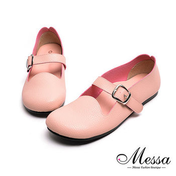 【Messa米莎專櫃女鞋】MIT舒適柔軟魔鬼氈釦帶內真皮圓頭包鞋-粉紅色