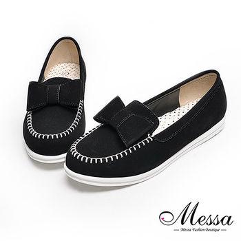 【Messa米莎專櫃女鞋】MIT絨皮蝴蝶結內真皮尖頭休閒鞋-黑色