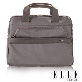 【ELLE HOMME】經典優雅筆電手提 側背兩用機能性公事包(灰 EL84256-09)