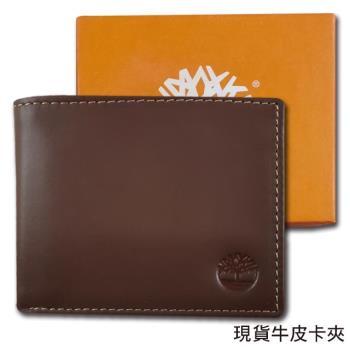 Timberland原廠正品 男用柔韌牛皮短夾  經典品牌盒裝/深棕色
