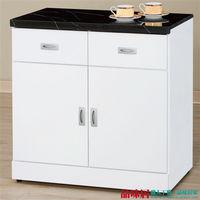 【品味居】肯德克 白色2.7尺黑雲石面收納櫃/餐櫃
