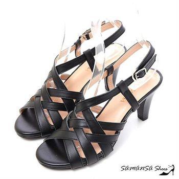 莎曼莎手工鞋【MIT全真皮】美腿線條--真皮交叉編織高跟涼鞋 #15121 時尚黑