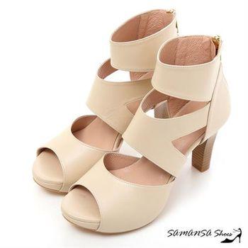 莎曼莎手工鞋【MIT全真皮】完美修長美腿-真皮羅馬靴 #15119 粉膚色