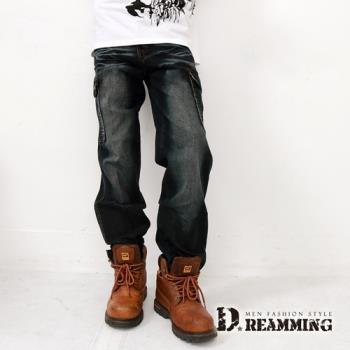 【Dreamming】多口袋刷紋伸縮彈性直筒褲