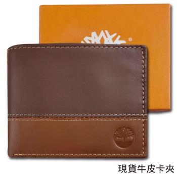 Timberland原廠正品 男用卡夾數多牛皮短夾  雙色搭配 精美禮盒裝/深棕+淺棕色