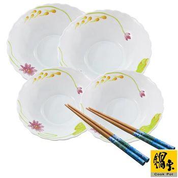 鍋寶耐熱玻璃湯碗-成雙成對饗樂組(綠筷) EO-TSB8432Z8433ZRG1G