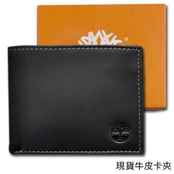 Timberland原廠正品柔韌牛皮 男用短夾經典品牌盒裝/黑色