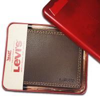 【Levis】Levis 牛皮夾 多卡夾 經典鐵盒裝/咖色
