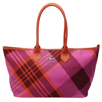 Vivienne Westwood 格紋帆布購物包(桃紅)