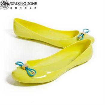 WALKING ZONE 韓版蝴蝶結亮麗配色果凍鞋-黃(另有深藍、淺藍、桃、黑)