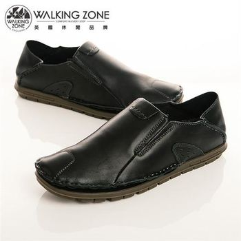 WALKING ZONE 英倫真皮自然風格開車鞋男鞋-黑(另有咖、棕)