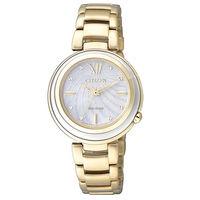 CITIZEN 光動能 L系列 珍珠光彩動人時尚腕錶/珍珠白-32mm/EM0336-59D