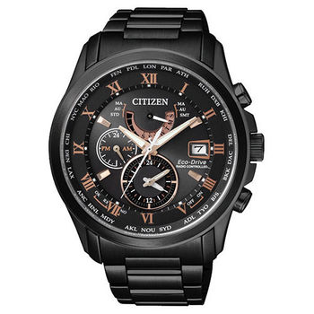 CITIZEN 光動能電波萬年曆時尚腕錶-黑x玫瑰金時標/43mm/AT9085-53E