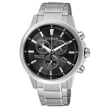 CITIZEN Eco-Drive 鈦金屬三眼計時腕錶-黑/42mm/AT2340-81E