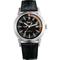 Ogival 瑞士愛其華-夜鷹系列造型氚氣真皮腕錶-黑 3696MS