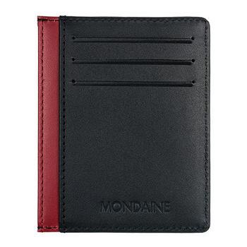 MONDAINE 瑞士國鐵牛皮6卡卡片夾-黑x紅 160506R