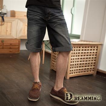 【Dreamming】刷白壓皺牛仔七分短褲