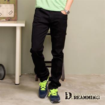 【Dreamming】韓版斜紋布伸縮小直筒褲(黑色)