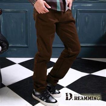【Dreamming】雅痞風皮革滾邊口袋斜紋布休閒長褲(共二色)