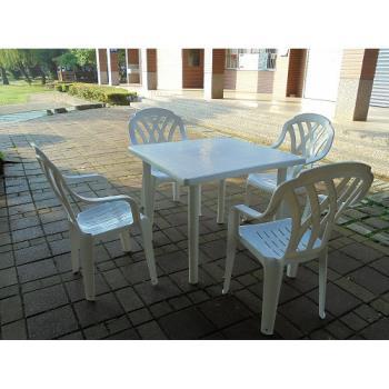 BROTHER兄弟牌塑膠格網高背椅+90cm塑膠方桌一桌四椅組
