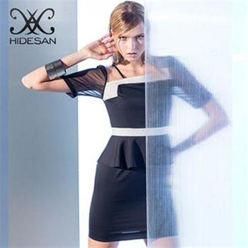 【HIDESAN海蒂山】時尚高雅雪紡紗拼接收腰短袖洋裝