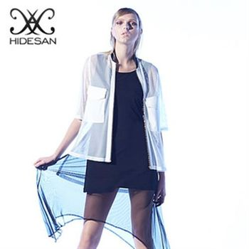 【HIDESAN海蒂山】鏤空透膚感金編拉鍊長版外套