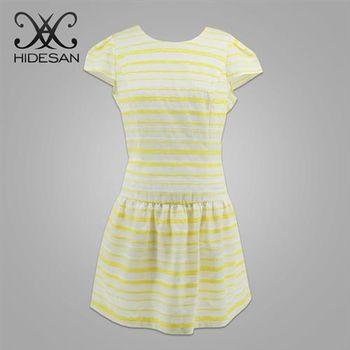 【HIDESAN海蒂山】夏日繽紛黃色直條紋洋裝