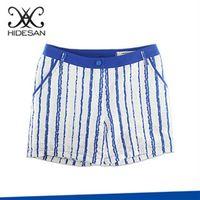 【HIDESAN海蒂山】夏日繽紛藍色直條紋短褲