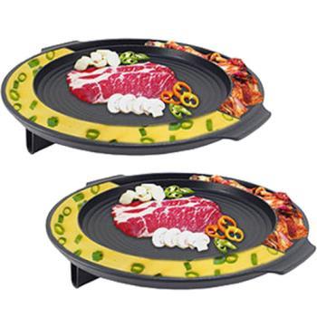《買一送一》【韓國 Kitchen Flower】 蒸蛋排油不沾烤盤/滴油烘蛋烤盤 NY2499(圓型37cm)