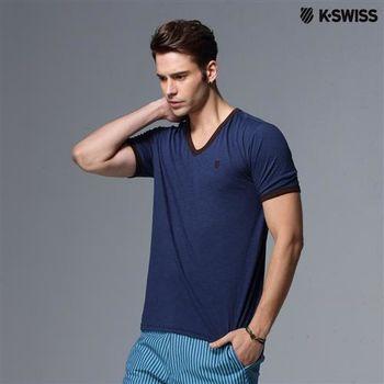 K-Swiss V-neck Tee V領短袖T恤-男-海軍藍